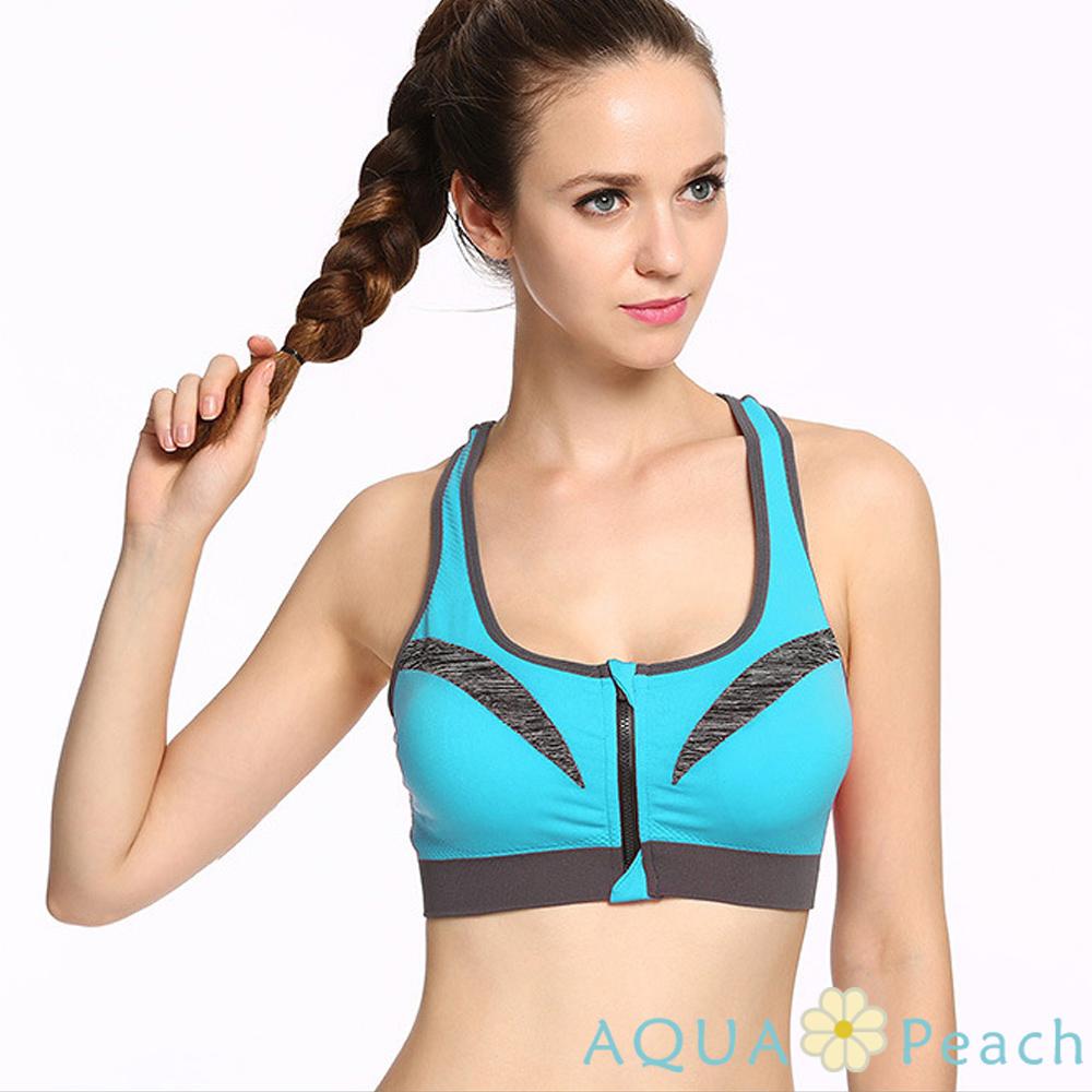 運動內衣 前置拉鏈素面薄款透氣背心 (天藍色)-AQUA Peach