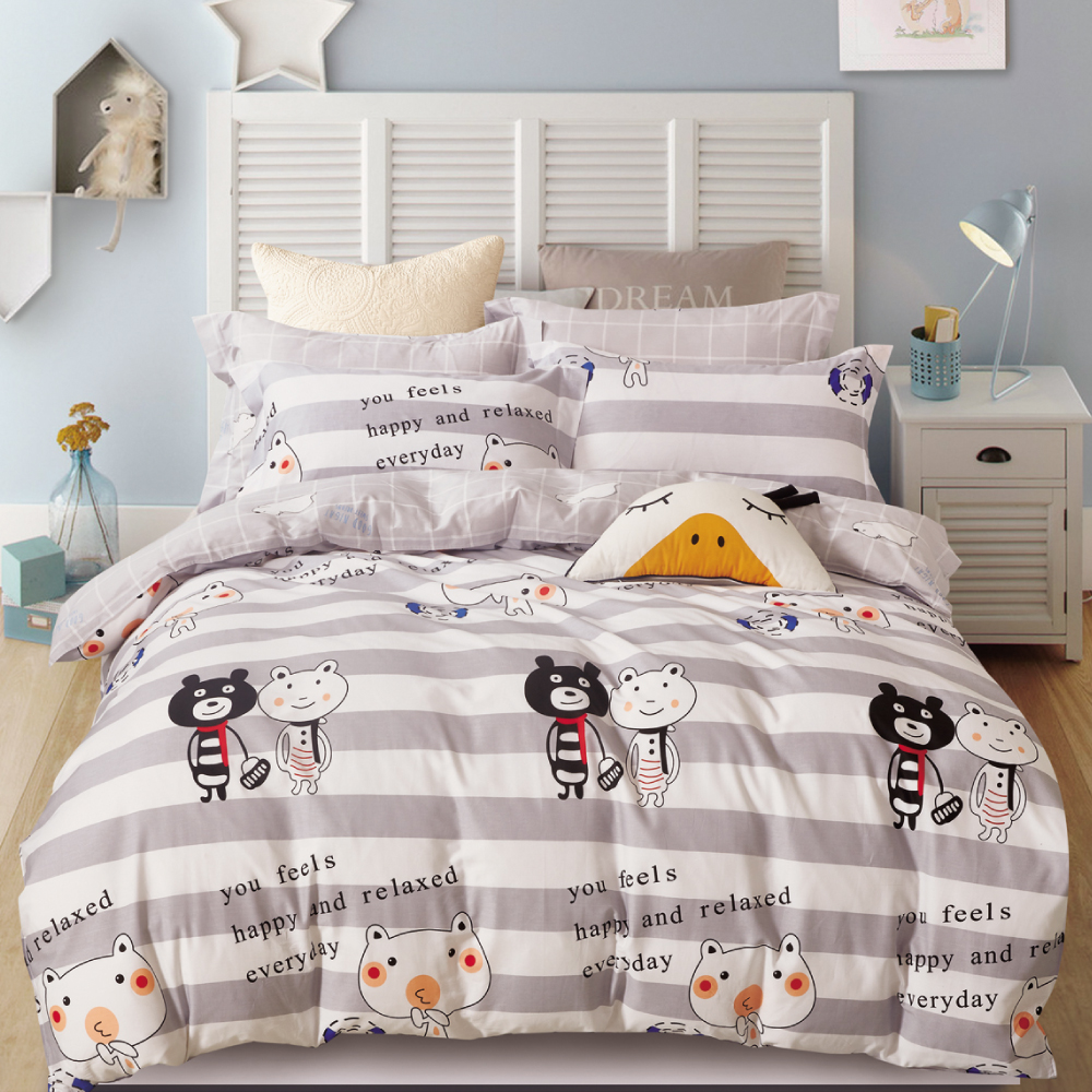 Grace Life 淘氣夢 精梳純棉加大涼被床包四件組