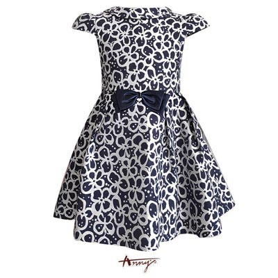 Annys夢幻高質氣場緞蝴蝶結花朵洋裝*7220藍