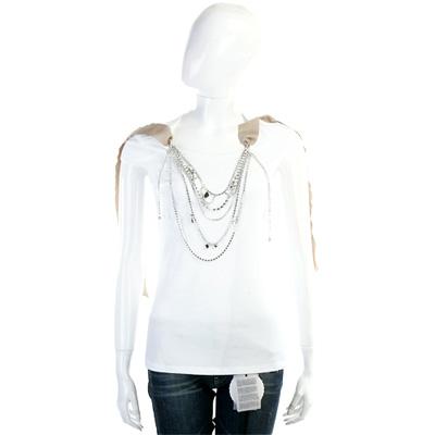 BLUGIRL-Folies 白色鍊飾緞帶短袖T恤