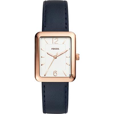FOSSIL 雅緻都會女錶(ES4158)-銀x玫塊金框x藍/28mm
