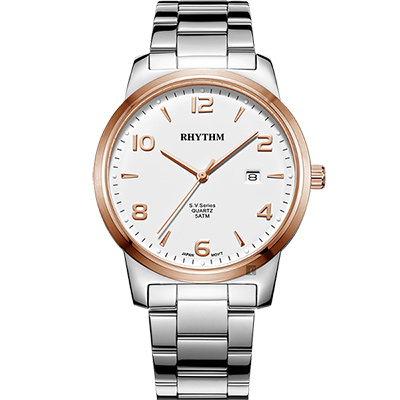 RHYTHM日本麗聲 S.V.Series紳士石英手錶-玫瑰金圈x銀/40mm