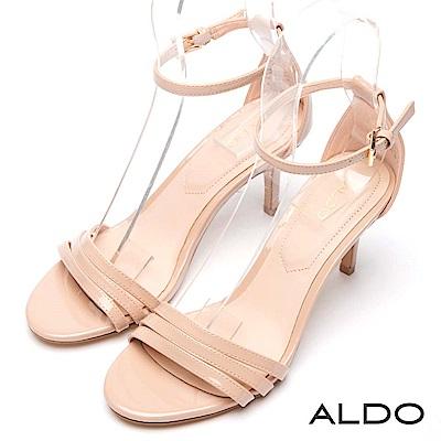 ALDO 原色幾何金屬釦帶繫踝魚口露趾細高跟涼鞋~氣質裸膚
