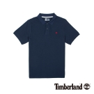 Timberland 男款深藍色棉質刺繡短袖POLO衫