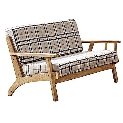 品家居 可妮雅亞麻布實木沙發雙人座-126x68x78cm免組