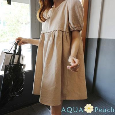 寬鬆亞麻短袖娃娃連身裙 (共二色)-AQUA Peach