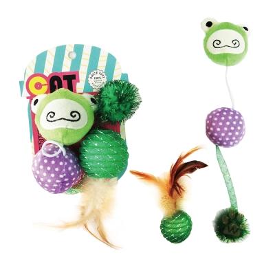 寵喵樂《逗貓玩具-青蛙+球+羽毛玩具》一組(LWT-88190)