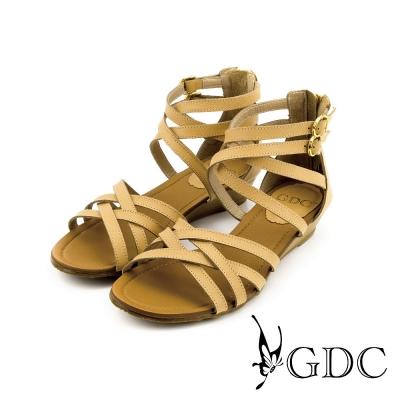 GDC-性感環繞雙扣帶後拉鍊真皮楔型厚底羅馬涼鞋-卡其色