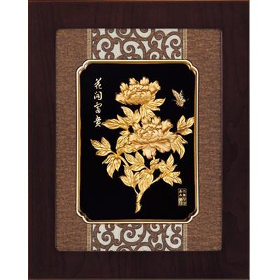開運陶源 金箔畫 純金 *古典中國風系列*牡丹【花開富貴】...27x34cm