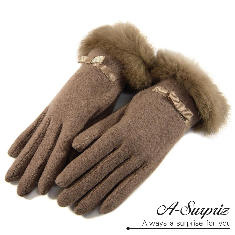 A-Surpriz 華麗兔毛蝴蝶結羊毛手套(駝)