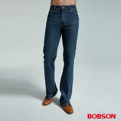 BOBSON 男款鬼爪深藍喇叭褲