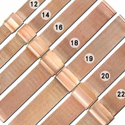 Watchband / DW替用 各品牌通用透亮米蘭編織不鏽鋼錶帶-玫瑰金色