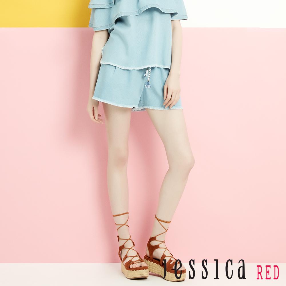 JESSICA RED - 不收邊單寧綁帶短褲