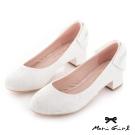 Mori girl蕾絲後蝴蝶結低跟婚鞋 白