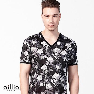 歐洲貴族oillio 短袖T恤 V領款式 滿版花樣 黑色
