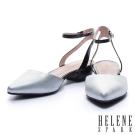 跟鞋 MELROSE 簡約時尚拼色牛皮尖頭低跟鞋-銀