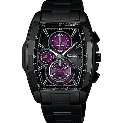 WIRED 東京潮流炫彩三眼計時腕錶-黑x紫/40mm