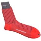 EMPORIO ARMANI 字母品牌圖騰斜紋LOGO紳士襪(紅)