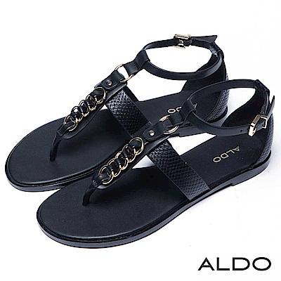 ALDO 原色鎖鍊蛇紋繫帶T字夾腳涼鞋~尊爵黑色
