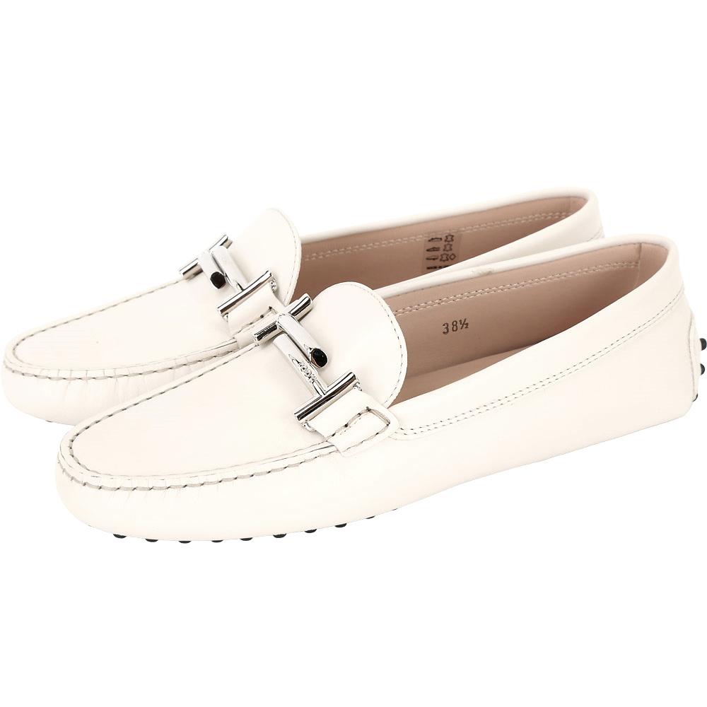 TOD'S Double T 金屬設計豆豆休閒鞋(女鞋/米白)