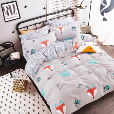 Ania Casa 台灣製 100%純棉 - 雙人床包被套四件組 - 狐狸童話