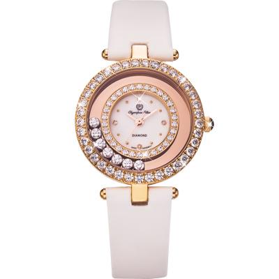 Olympia Star 奧林比亞之星 星空幻影真鑽時尚腕錶-氣質金/31.6mm