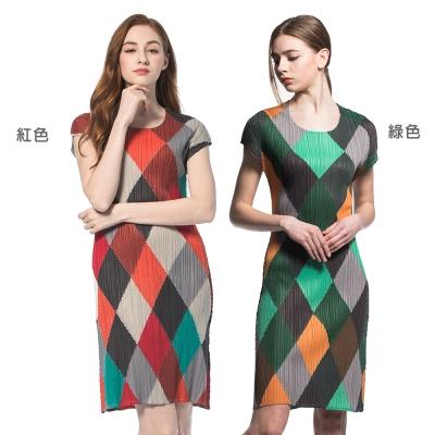 亮麗格子圓領短袖壓摺洋裝(共兩色)-玩美衣櫃