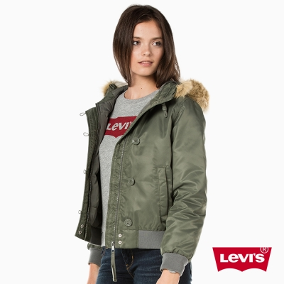 Levis 女裝 羽絨服外套 連帽毛邊設計