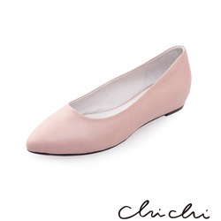 Chichi 微尖頭素面百搭平底鞋*粉色
