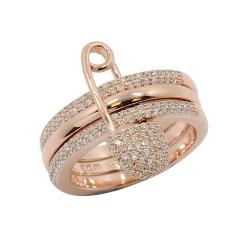 apm MONACO法國精品珠寶 玫瑰金色三圓環別針造型鑲鋯戒指