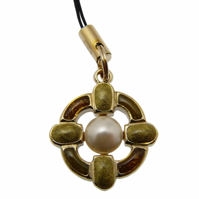 CHANEL 典雅造型珍珠手機吊飾(琥珀)