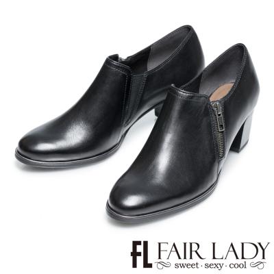 Fair Lady 率性雅痞拉鍊粗跟牛津踝靴 黑