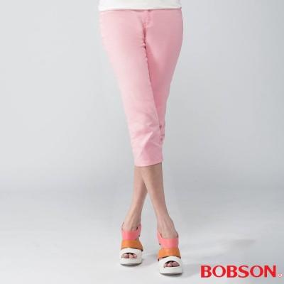 BOBSON 女款刺繡鑽飾七分褲(粉212-10)