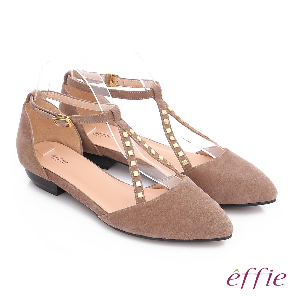 effie 都會舒適 時尚羊皮鉚釘交叉環扣淺口低跟鞋 卡其
