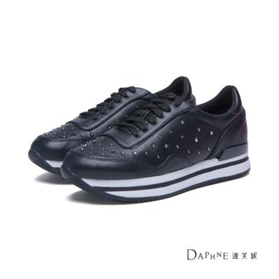 達芙妮DAPHNE-休閒鞋-水鑽鉚釘厚底綁帶運動鞋-黑