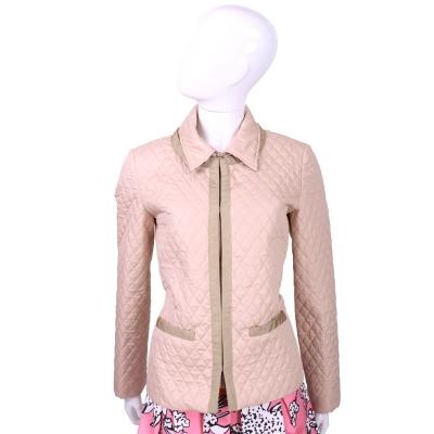 DAKS 粉色菱格縫線鋪棉外套(拉鍊領片可拆)