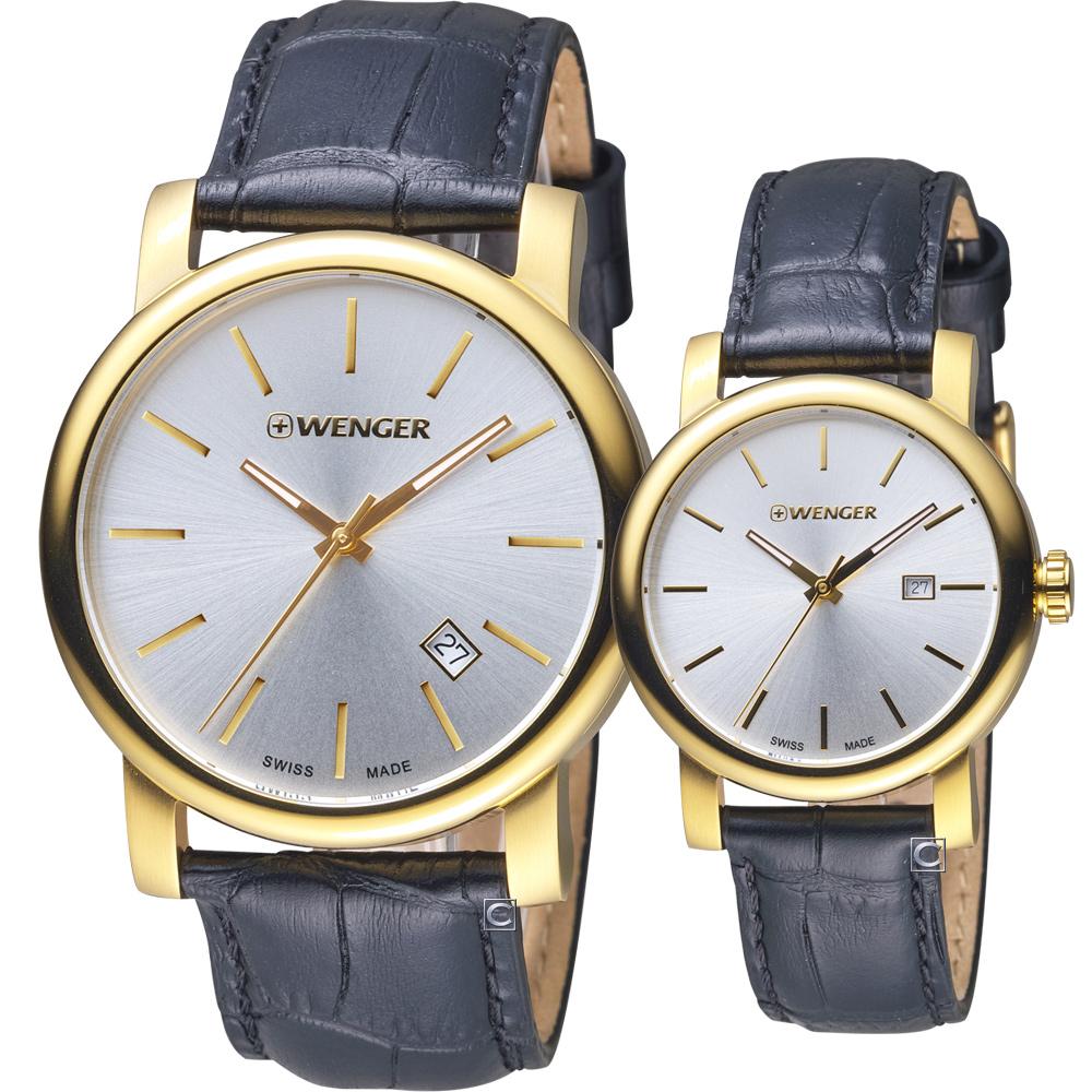 瑞士WENGER Urban 都會系列 現代經典對錶-金色/43+34mm