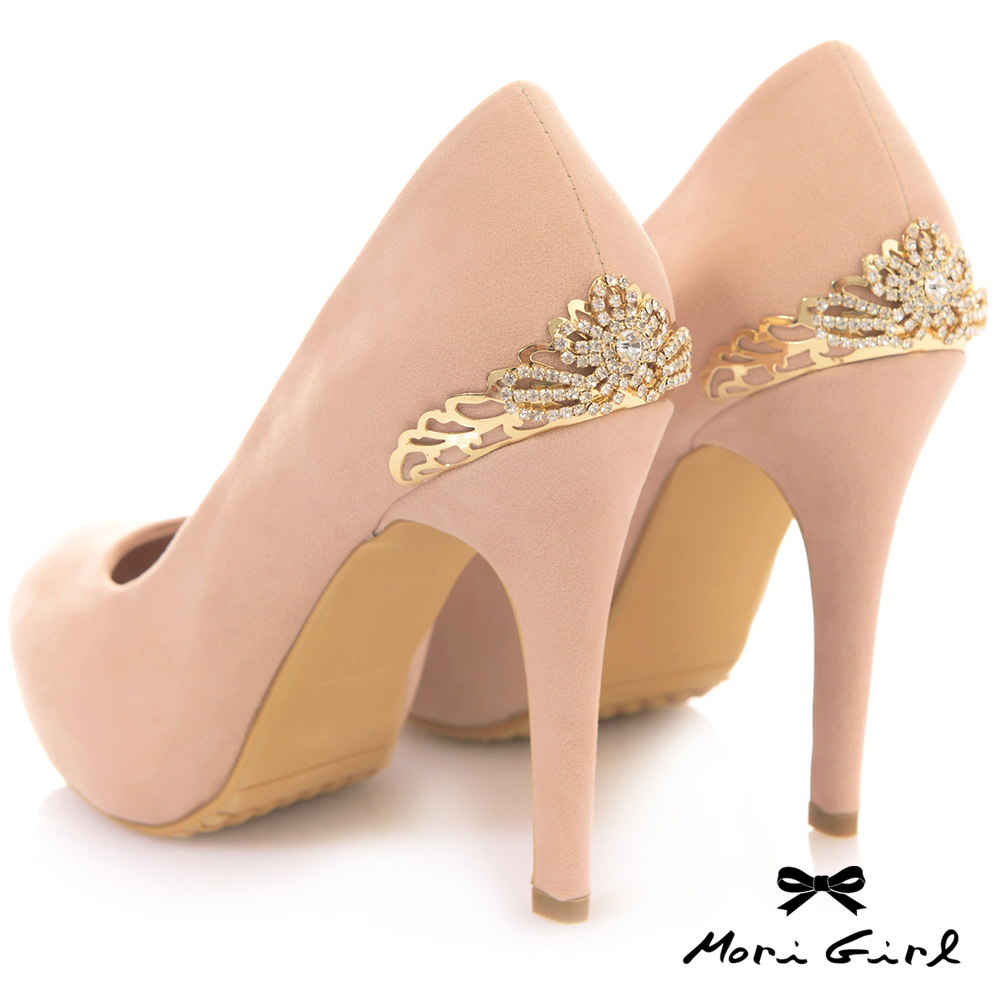Mori girl後金色水鑽皇冠高跟鞋 杏
