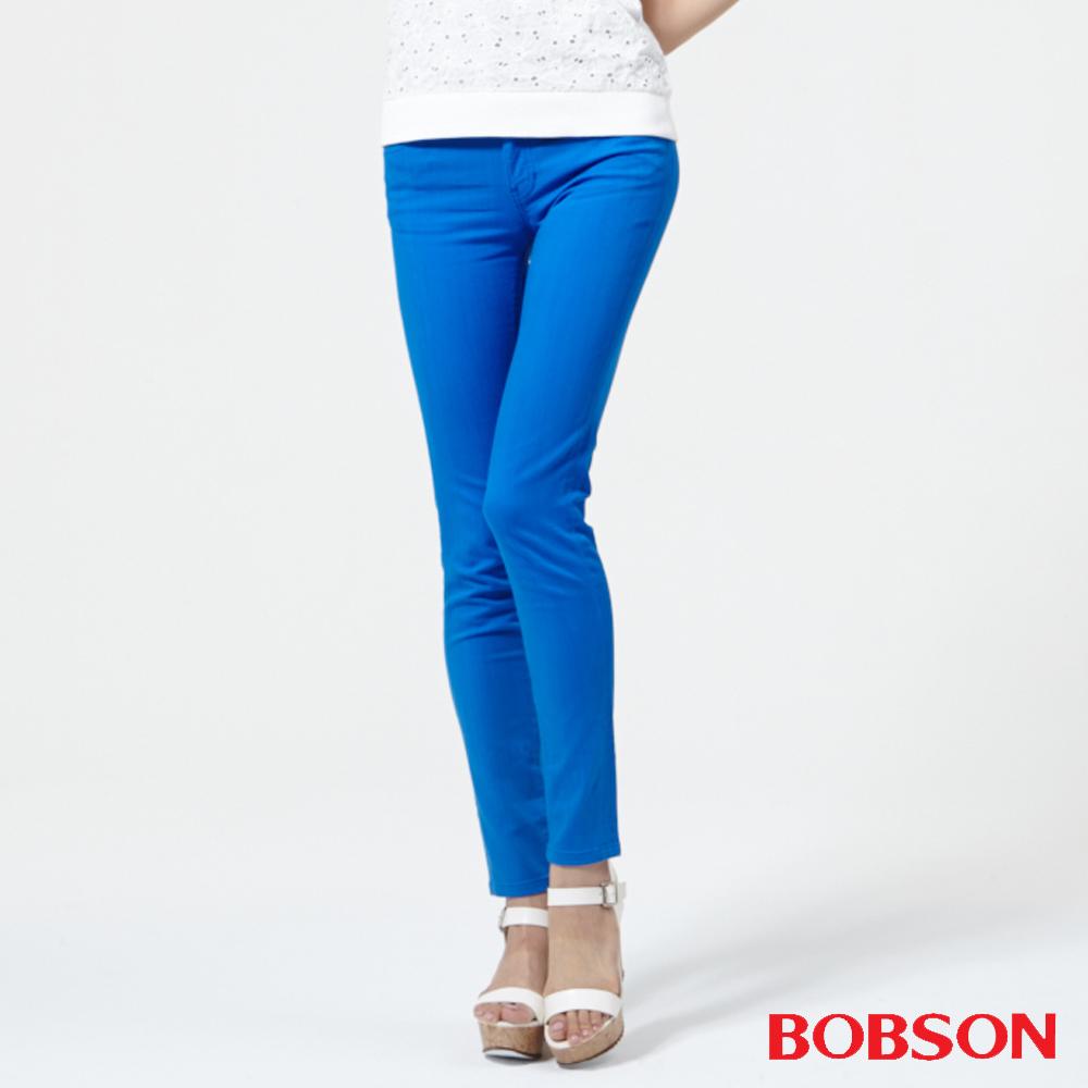BOBSON 女款低腰膠原蛋白.彩色小直筒褲-寶藍