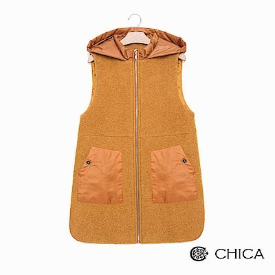 CHICA 洗鍊率性異材質拼接連帽羊毛背心外套(2色)
