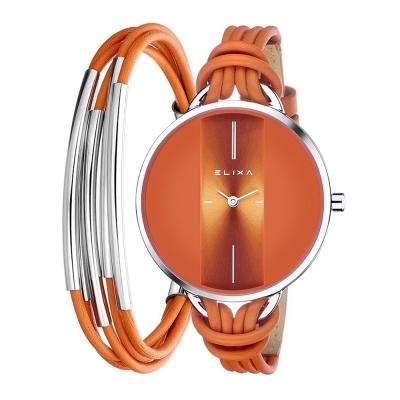 ELIXA Finesse精巧時間皮繩系列X手環組合 橘色38mm