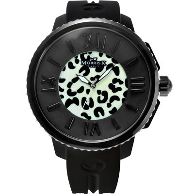 MORRIS K 舞極限狂野花豹紋休閒錶(MK 10205 -KB 203 )-夜光黑/ 45 mm