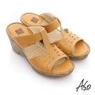 A.S.O 頂級氣墊 全真皮簍空奈米氣墊涼拖鞋 黃