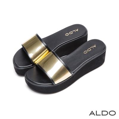ALDO-奢華度假趣原色金屬鑲邊船型涼鞋-尊爵黑色