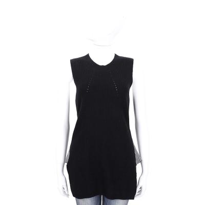 ALLUDE 黑色拼接千鳥格無袖針織上衣(30%CASHMERE)