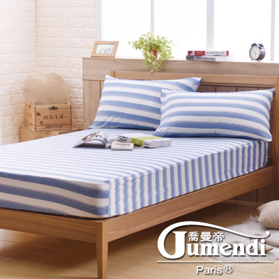 喬曼帝Jumendi 超涼感纖維針織加大三件式床包組-條紋藍