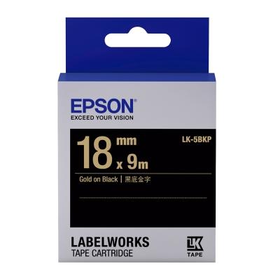 EPSON C53S655407 LK-5BKP粉彩系列黑底金字標籤帶(寬度18mm)