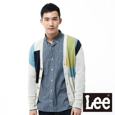 Lee-長袖針織外套-不規則色塊前開扣-男款-米
