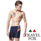 TRAVELFOX 男泳褲 五分泳褲短泳褲 丈青亮橘色印花