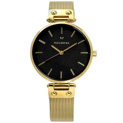 MOCKBERG  LIVIA NOIR 瑞典防水米蘭編織不鏽鋼手錶-黑x鍍金/34mm